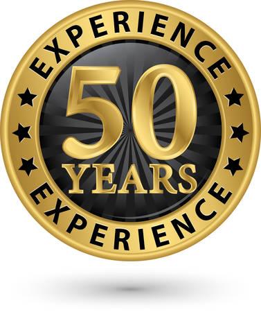 50 années d'expérience étiquette d'or, illustration vectorielle