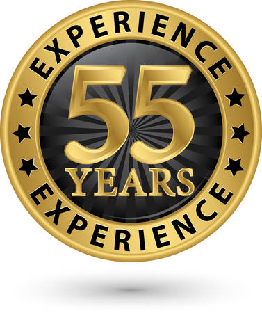 55 years experience gold label, vector illustration Vector