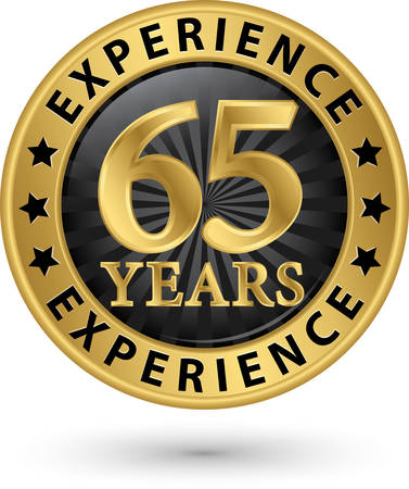 65: 65 years experience gold label, vector illustration