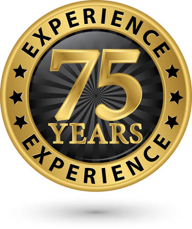 75 years experience gold label, vector illustration Vector