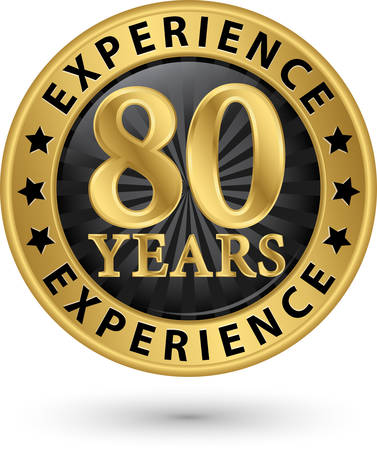 80 years: 80 years experience gold label, vector illustration