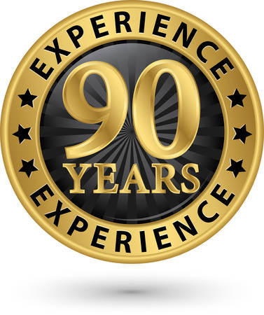 90 years: 90 years experience gold label, vector illustration