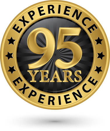 95: 95 years experience gold label, vector illustration Illustration