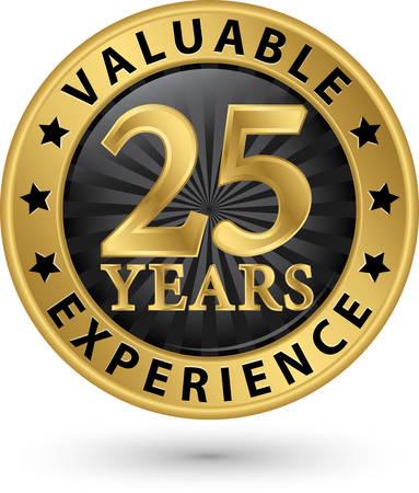25 年間貴重な経験ゴールド ラベル、ベクトル イラスト