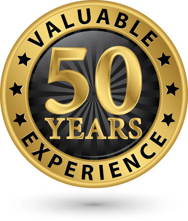 50 years valuable experience gold label, vector illustration Vector