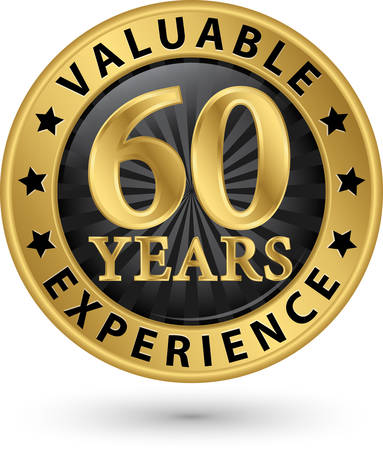 60 years: 60 years valuable experience gold label, vector illustration Illustration
