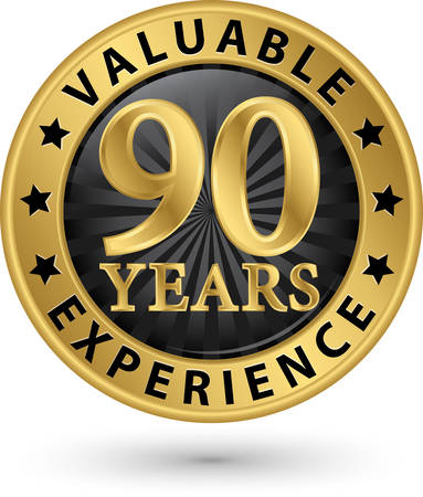 90 years experience gold label, vector illustration Vector