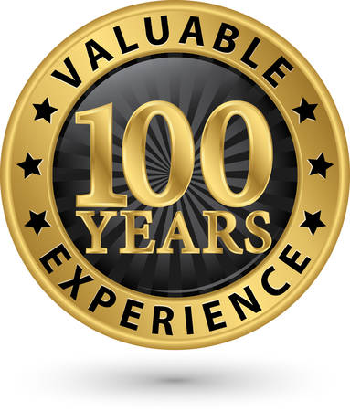 100 years valuable experience gold label, vector illustration