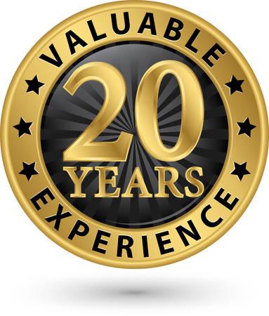 20 ans d'expérience précieuse étiquette d'or, illustration vectorielle