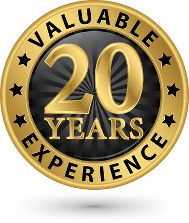 20 years valuable experience gold label, vector illustration