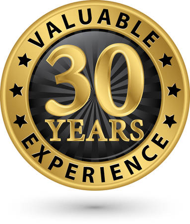 30 years valuable experience gold label, vector illustration Stock Illustratie