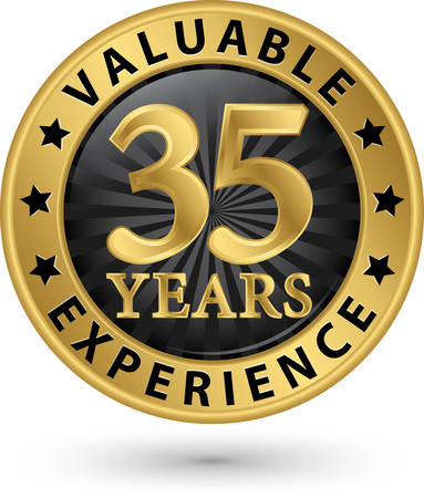 35 years: 35 years valuable experience gold label, vector illustration