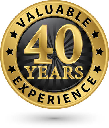 40 years valuable experience gold label, vector illustration Stock Illustratie