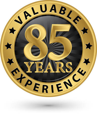 85 years valuable experience gold label, vector illustration Vector