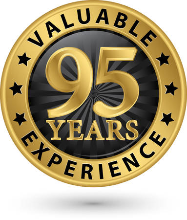 95 years valuable experience gold label, vector illustration Vector