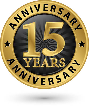 15 years: 15 years anniversary gold label, vector illustration