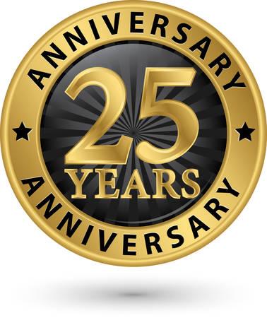 25 年周年記念ゴールド ラベル、ベクトル イラスト