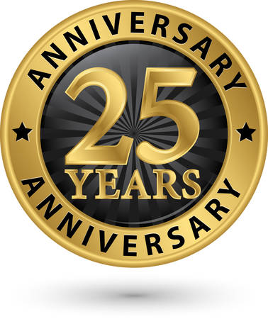 25 years anniversary gold label, vector illustration Vector