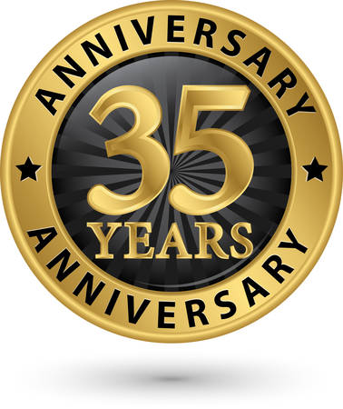 35: 35 years anniversary gold label, vector illustration