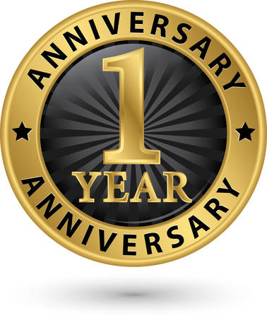 1 year anniversary gold label, vector illustration