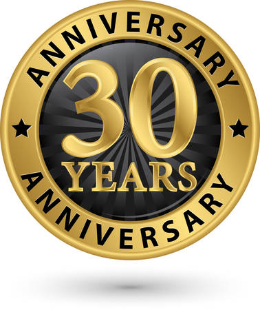 30: 30 years anniversary gold label, vector illustration