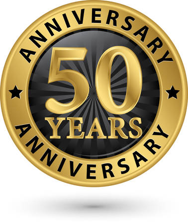 50 years anniversary gold label, vector illustration