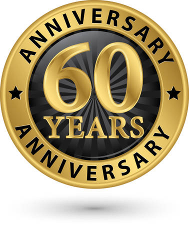 60 years: 60 years anniversary gold label, vector illustration