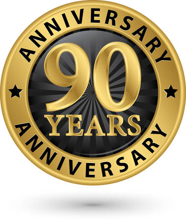 90 years: 90 years anniversary gold label, vector illustration Illustration