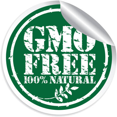 GMO free 100% natural grunge sticker, vector illustration Vector