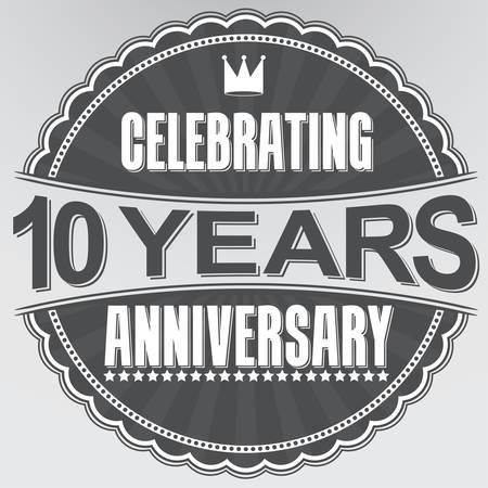 Viert 10 jaar jubileum retro-label, vector illustratie Stock Illustratie