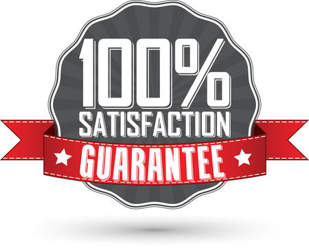 Satisfaction guarantee retro label with red ribbon, vector illustration Stock Illustratie