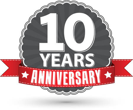 Celebrating 10 years anniversary retro label with red ribbon, vector illustration Stok Fotoğraf - 35558123