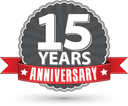 Celebrating 15 years anniversary retro label with red ribbon, vector illustration
