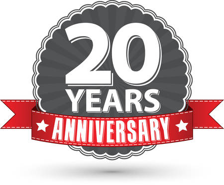 Celebrating 20 years anniversary retro label with red ribbon, vector illustration