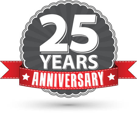 25 years old: Celebrating 25 years anniversary retro label with red ribbon, vector illustration