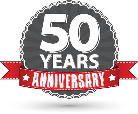 50 years: Celebrating 50 years anniversary retro label with red ribbon, vector illustration