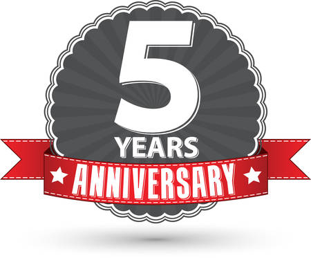 Celebrating 5 years anniversary retro label with red ribbon, vector illustration