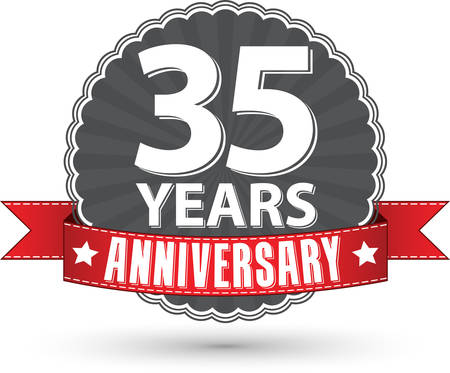 35: Celebrating 35 years anniversary retro label with red ribbon, vector illustration Illustration