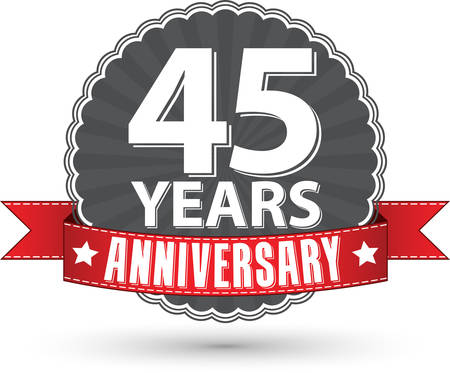 45th: Celebrating 45 years anniversary retro label with red ribbon, vector illustration