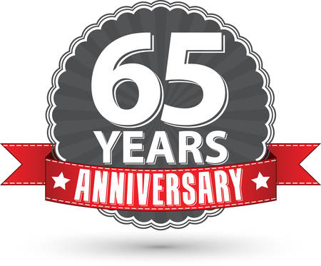 65 years old: Celebrating 65 years anniversary retro label with red ribbon, vector illustration