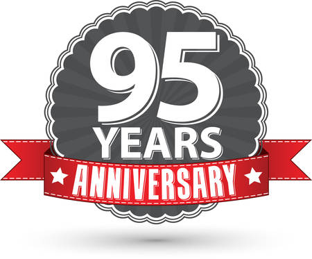 95: Celebrating 95 years anniversary retro label with red ribbon, vector illustration