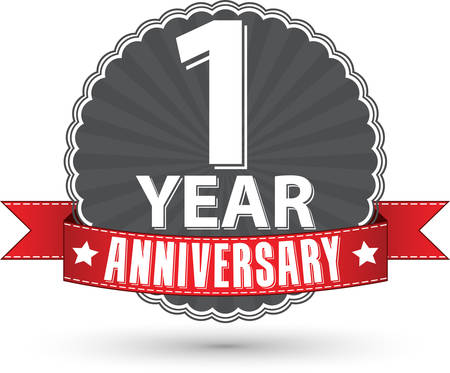 Celebrating 1 year anniversary retro label with red ribbon, vector illustration