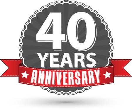 Viert 40 jaar jubileum retro-label met rood lint, vector illustratie