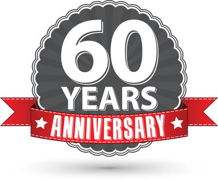 60th: Celebrating 60 years anniversary retro label with red ribbon, vector illustration