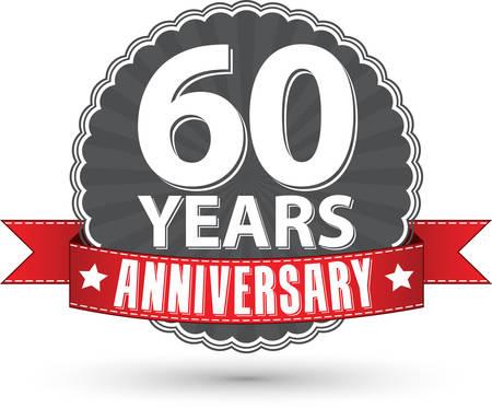 60: Comemorando 60 anos r�tulo anivers�rio retro com a fita vermelha, ilustra��o vetorial Ilustra��o