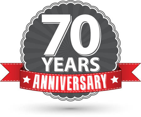 70 years: Celebrating 70 years anniversary retro label with red ribbon, vector illustration