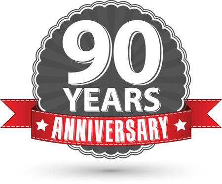 90 years: Celebrando 90 anni anniversario retro etichetta con nastro rosso, illustrazione vettoriale