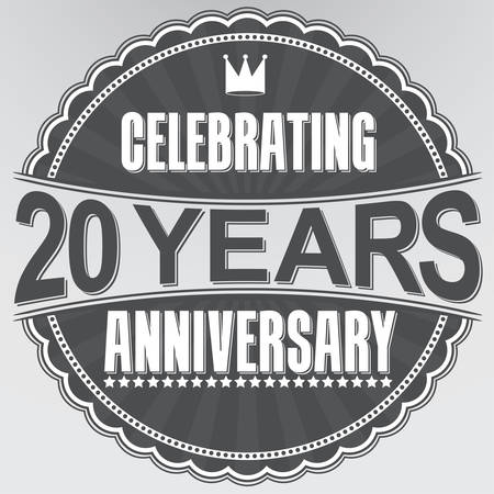 Celebrating 20 years anniversary retro label, vector illustration Illustration