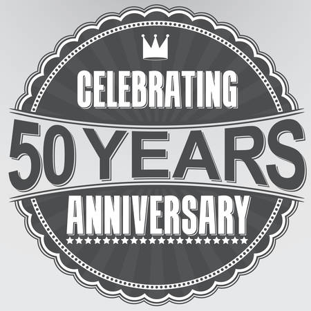 50 years jubilee: Celebrating 50 years anniversary retro label, vector illustration Illustration