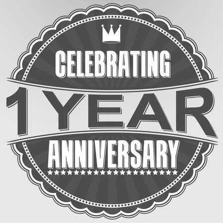 Celebrando 1 anno anniversario retro etichetta, illustrazione vettoriale Archivio Fotografico - 35849657